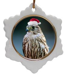Falcon Jolly Santa Snowflake Christmas Ornament