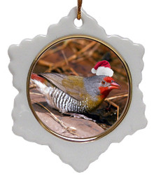 Finch Jolly Santa Snowflake Christmas Ornament