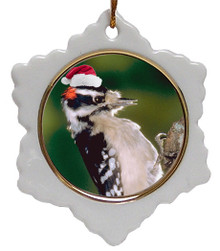 Downey Woodpecker Jolly Santa Snowflake Christmas Ornament