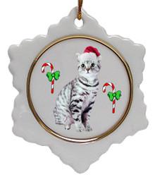 American Shorthair Cat Jolly Santa Snowflake Christmas Ornament