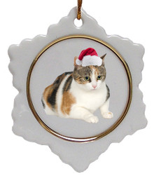 Calico Cat Jolly Santa Snowflake Christmas Ornament