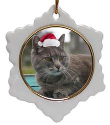 Cat Jolly Santa Snowflake Christmas Ornament