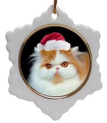 Persian Cat Jolly Santa Snowflake Christmas Ornament