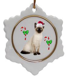 Siamese Cat Jolly Santa Snowflake Christmas Ornament