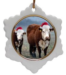 Cow Jolly Santa Snowflake Christmas Ornament