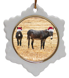 Donkey Jolly Santa Snowflake Christmas Ornament