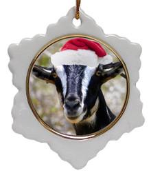 Goat Jolly Santa Snowflake Christmas Ornament