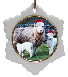 Lamb Jolly Santa Snowflake Christmas Ornament