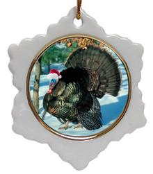 Turkey Jolly Santa Snowflake Christmas Ornament
