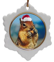 Chipmunk Jolly Santa Snowflake Christmas Ornament