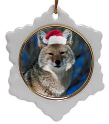 Coyote Jolly Santa Snowflake Christmas Ornament