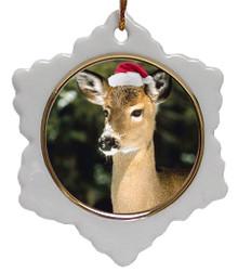 Deer Jolly Santa Snowflake Christmas Ornament