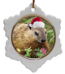 Groundhog Jolly Santa Snowflake Christmas Ornament