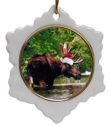 Moose Jolly Santa Snowflake Christmas Ornament