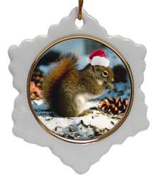 Squirrel Jolly Santa Snowflake Christmas Ornament
