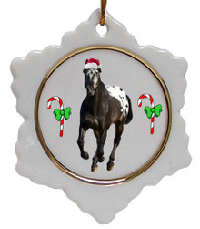Appaloosa Jolly Santa Snowflake Christmas Ornament