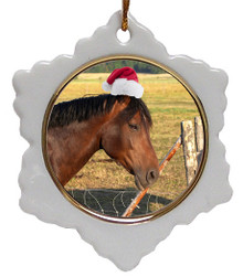 Horse Jolly Santa Snowflake Christmas Ornament