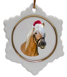 Haflinger Jolly Santa Snowflake Christmas Ornament