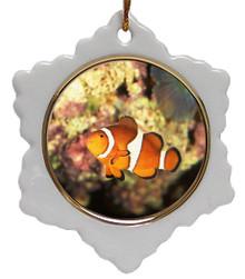 Clownfish Jolly Santa Snowflake Christmas Ornament