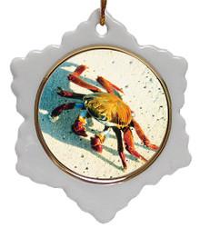 Crab Jolly Santa Snowflake Christmas Ornament