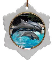 Dolphin Jolly Santa Snowflake Christmas Ornament