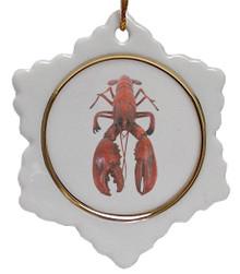 Lobster Jolly Santa Snowflake Christmas Ornament