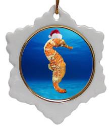 Seahorse Jolly Santa Snowflake Christmas Ornament