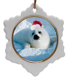 Seal Jolly Santa Snowflake Christmas Ornament