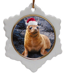 Sea Lion Jolly Santa Snowflake Christmas Ornament