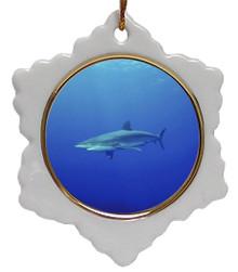Shark Jolly Santa Snowflake Christmas Ornament