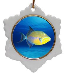 Triggerfish Jolly Santa Snowflake Christmas Ornament