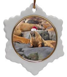 Walrus Jolly Santa Snowflake Christmas Ornament