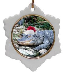 Alligator Jolly Santa Snowflake Christmas Ornament