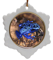 Blue Frog Jolly Santa Snowflake Christmas Ornament