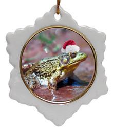 Green Frog Jolly Santa Snowflake Christmas Ornament