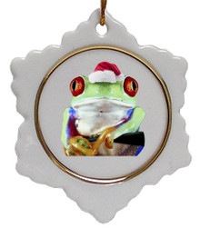 Tree Frog Jolly Santa Snowflake Christmas Ornament