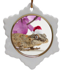 Gecko Jolly Santa Snowflake Christmas Ornament