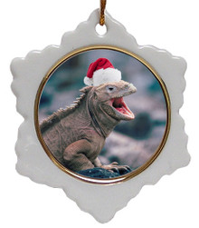 Iguana Jolly Santa Snowflake Christmas Ornament