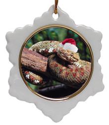 Viper Snake Jolly Santa Snowflake Christmas Ornament