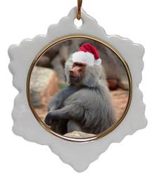 Baboon Jolly Santa Snowflake Christmas Ornament