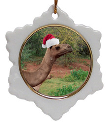 Camel Jolly Santa Snowflake Christmas Ornament
