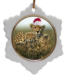 Cheetah Jolly Santa Snowflake Christmas Ornament