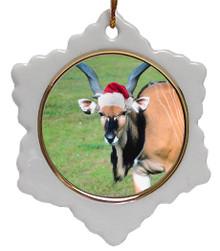 Eland Jolly Santa Snowflake Christmas Ornament