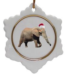 Elephant Jolly Santa Snowflake Christmas Ornament