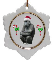 Gorilla Jolly Santa Snowflake Christmas Ornament