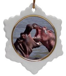 Hippo Jolly Santa Snowflake Christmas Ornament