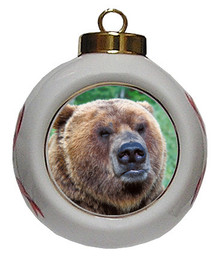 Bear Porcelain Ball Christmas Ornament