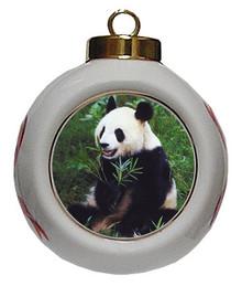 Panda Bear Porcelain Ball Christmas Ornament