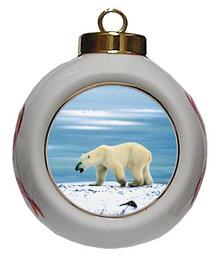 Polar Bear Porcelain Ball Christmas Ornament
