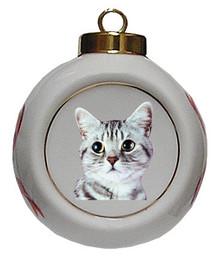 American Shorthair Cat Porcelain Ball Christmas Ornament